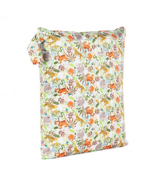 Săculeț Baba+Boo mediu DUBLU impermeabil refolosibil - wet bag Jungle (cu 2 compartimente și 2 fermoare)