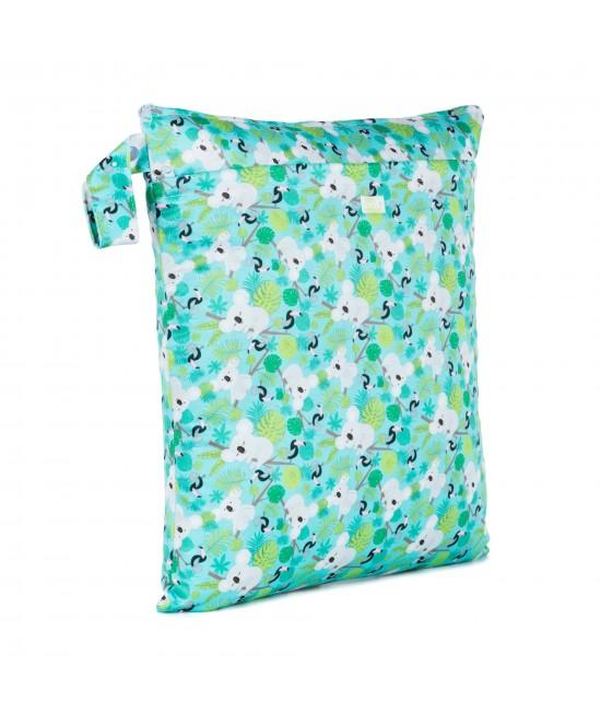 Săculeț Baba+Boo mediu DUBLU impermeabil refolosibil - wet bag Koalas (cu 2 compartimente și 2 fermoare)