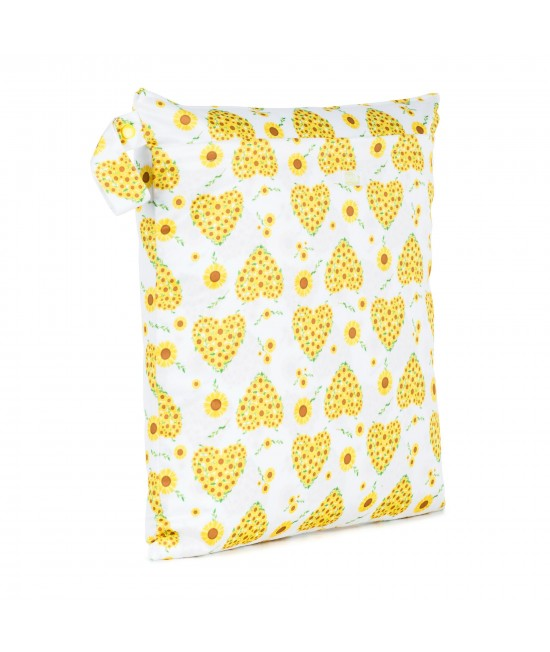 Săculeț Baba+Boo mediu DUBLU impermeabil refolosibil - wet bag Sunflowers (cu 2 compartimente și 2 fermoare)