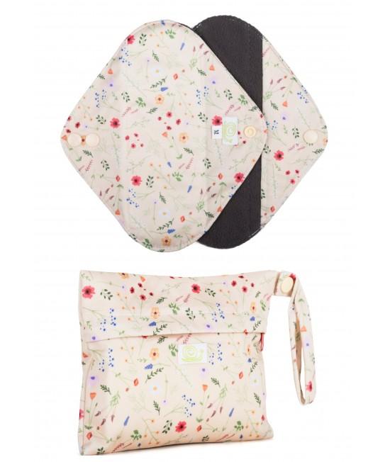 Set de 2 absorbante intime feminine lavabile Baba+Boo Medium + borsetă impermeabilă Wildflowers