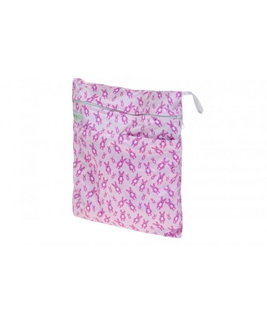 Sac (wet bag) Baba+Boo pentru depozitarea scutecelor - Little Miss Rabbit (iepurași)