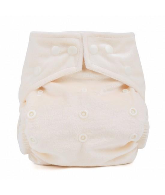 Scutec textil cu buzunar Baba+Boo Cream Minky - varianta nouă