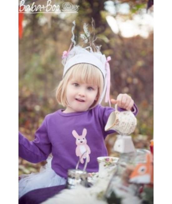 Tricou cu mânecă lungă din bumbac organic imprimat Baba+Boo Little Miss Rabbit