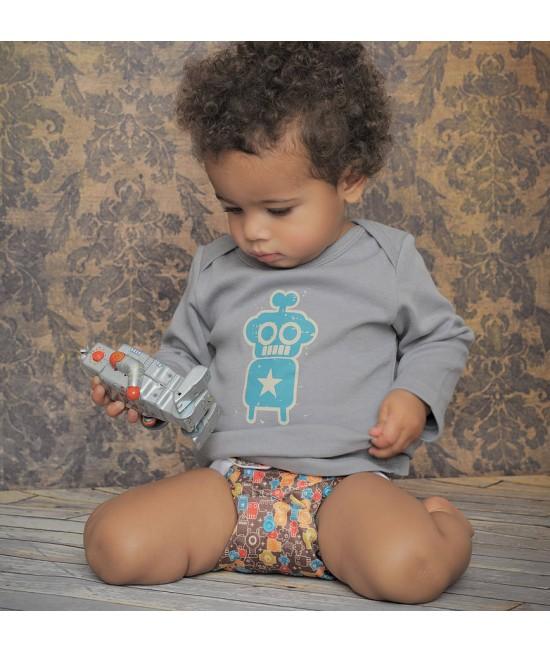 Tricou cu mânecă lungă din bumbac organic imprimat Baba+Boo Robot