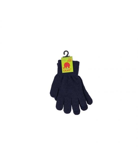 Mănuși tricotate din lână Merino CeLaVi Dark Navy
