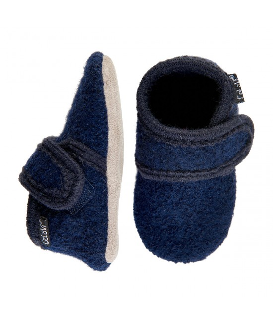 Botoșei CeLaVi bleumarin din lână, cu talpă de piele