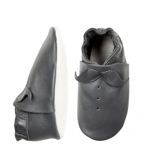 Papucei din piele cu talpă moale CeLaVi Gri Închis - ideali pentru primii pași