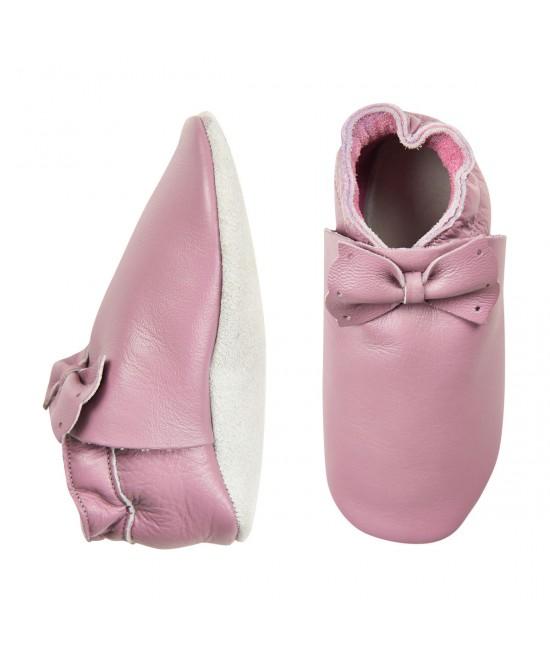 Papucei din piele cu talpă moale CeLaVi Roz - ideali pentru primii pași