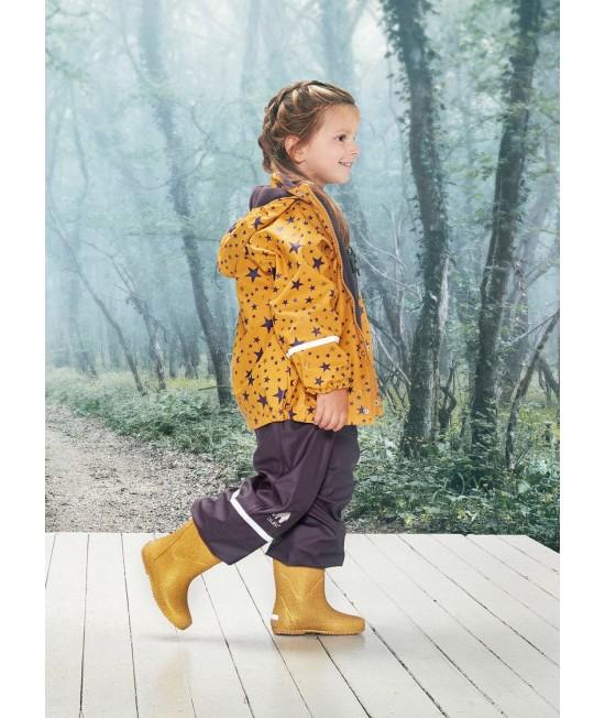 Set de ploaie și vânt CeLaVi jachetă+pantaloni/salopetă impermeabile căptușite galben cu mov