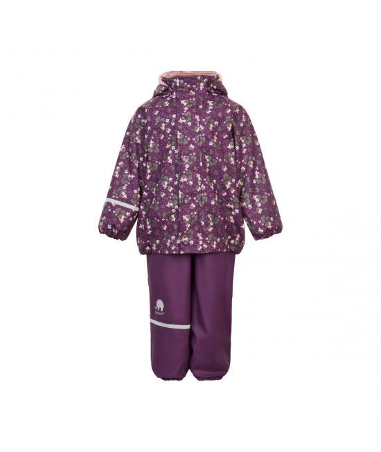Set de ploaie și vânt CeLaVi jachetă+pantaloni/salopetă impermeabile căptușite mov