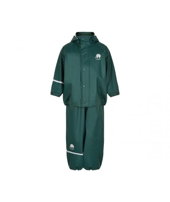 Set de ploaie și vânt CeLaVi jachetă+pantaloni/salopetă impermeabile verde închis