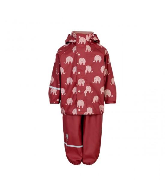 Set de ploaie și vânt CeLaVi jachetă+pantaloni/salopetă impermeabile roșu cu elefanți