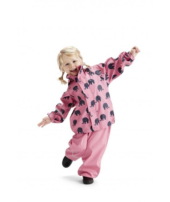 Set de ploaie și vânt CeLaVi jachetă+pantaloni/salopetă impermeabile roz cu elefanți