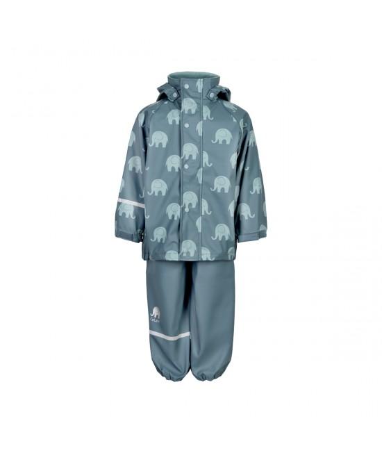 Set de ploaie și vânt CeLaVi jachetă+pantaloni/salopetă impermeabile albastru cu elefanți