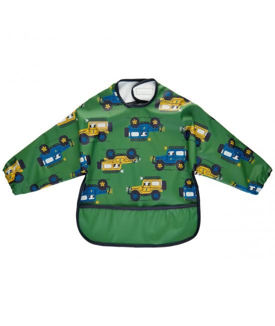 Bavetă impermeabilă cu mâneci stil șorț-cămașă CeLaVi pentru diversificare sau joacă - Elm Green