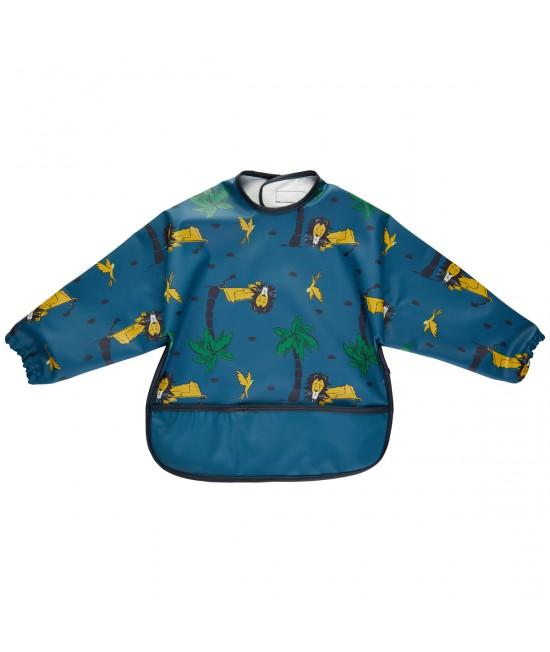Bavetă impermeabilă cu mâneci stil șorț-cămașă CeLaVi pentru diversificare sau joacă - Ice Blue