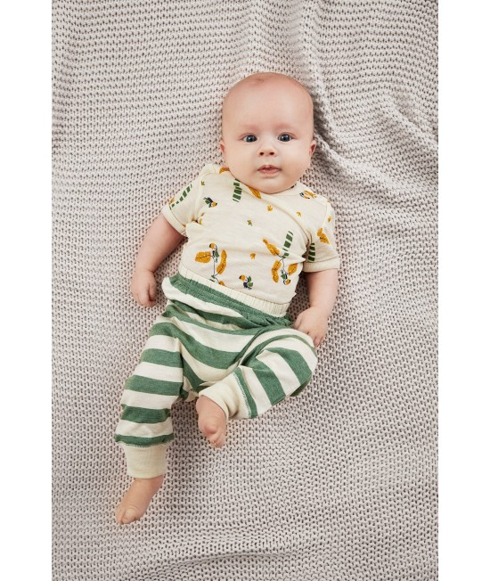 Pantaloni Harem stil șalvari din amestec de bambus și lână Merino CeLaVi Elm Green