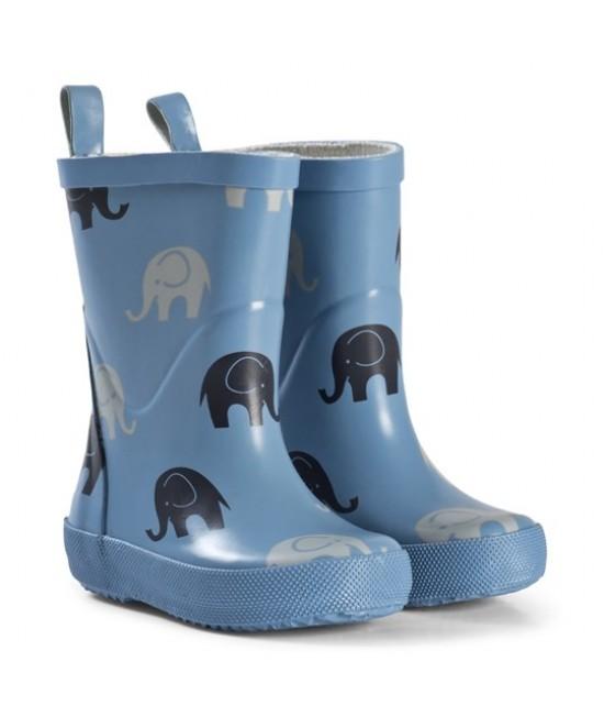 Cizme CeLaVi din cauciuc natural pentru copii - Dry Blue with Elephants