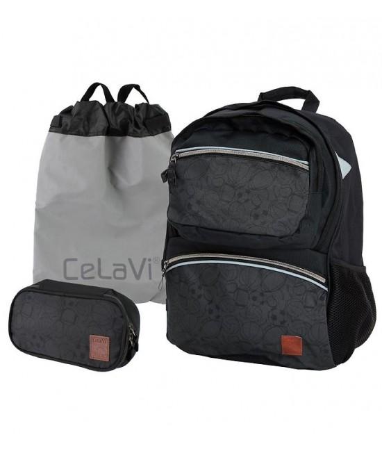 Ghiozdan ergonomic negru CeLaVi pentru școală (cu penar și sac de sport incluse)