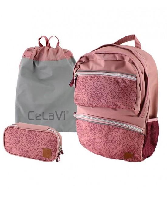 Ghiozdan ergonomic roz CeLaVi pentru școală (cu penar și sac de sport incluse)