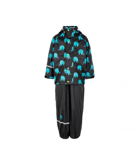Set de ploaie și vânt CeLaVi jachetă+pantaloni/salopetă impermeabile negru cu elefanți bleu