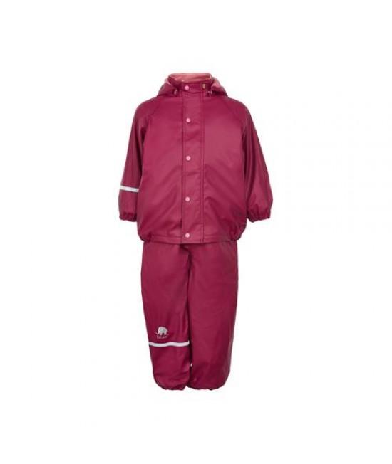 Set de ploaie și vânt CeLaVi jachetă+pantaloni/salopetă impermeabile căptușite vișiniu