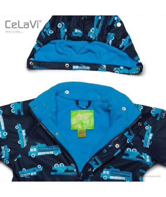 Jachetă impermeabilă căptușită cu fleece CeLaVi albastră cu mașini