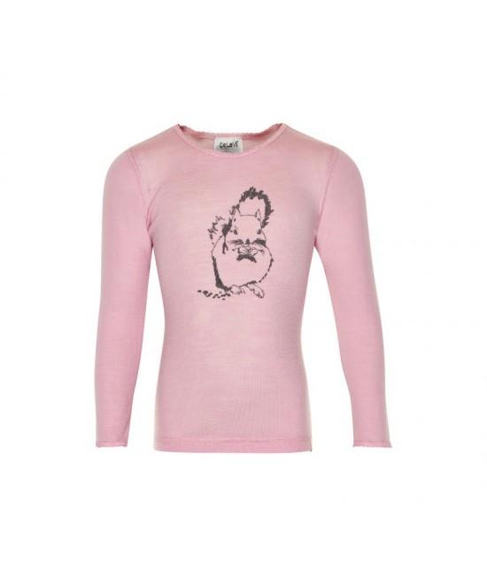 Bluză din lână Merinos CeLaVi - roz cu veveriță