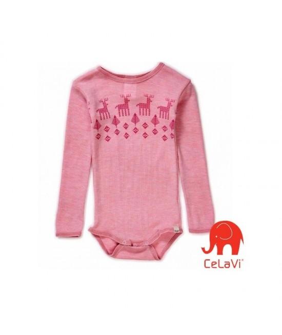 Body din lână Merinos CeLaVi - roz cu reni