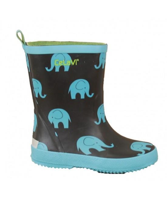 Cizme CeLaVi din cauciuc natural albastre cu elefanți
