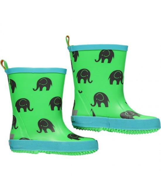 Cizme CeLaVi din cauciuc natural verzi cu elefanți