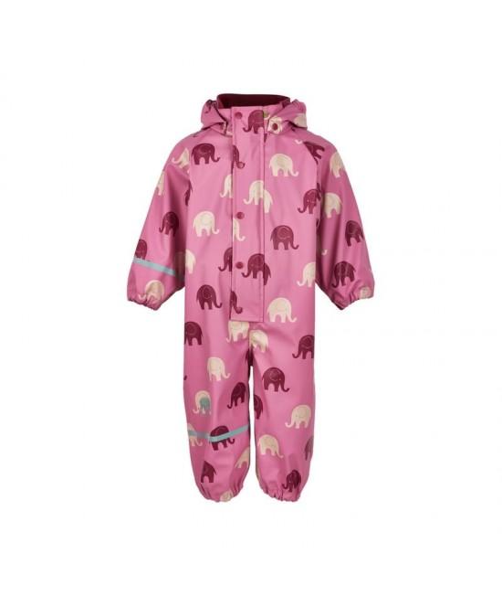 Costum de ploaie și vânt de ploaie și vânt (impermeabil) CeLaVi roz cu elefanți
