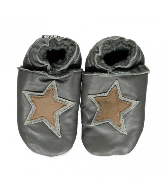 Papucei din piele cu talpă moale căptușiți CeLaVi Gri  Asphalt cu steluțe - ideali pentru primii pași