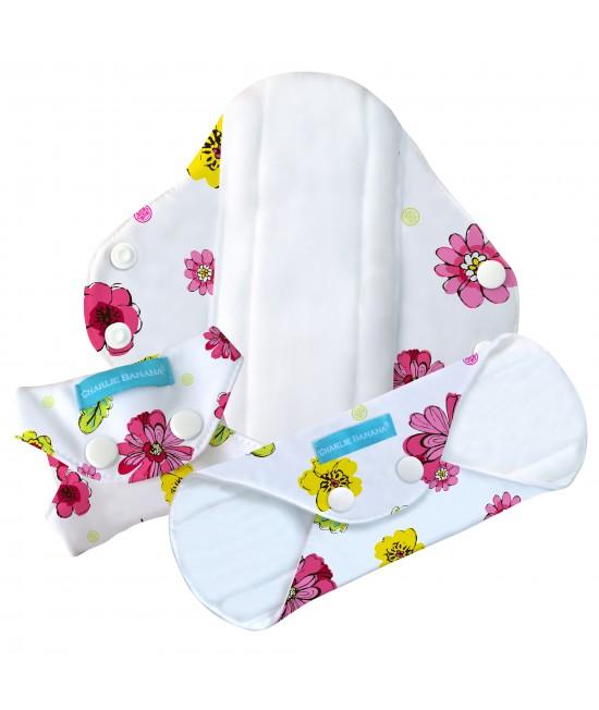 Set 3 absorbante intime feminine lavabile Charlie Banana Blooms - Regular