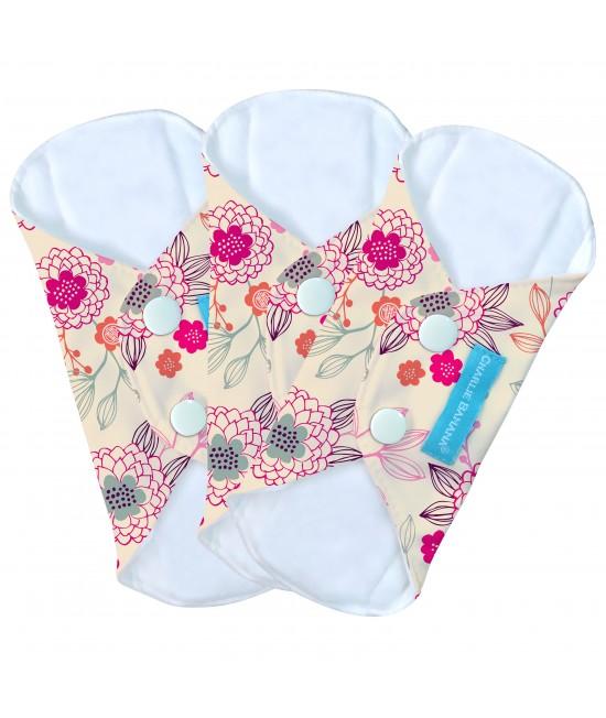 Set 3 absorbante intime feminine lavabile Charlie Banana Peony Blossom - Panty Liner (de zi cu zi)