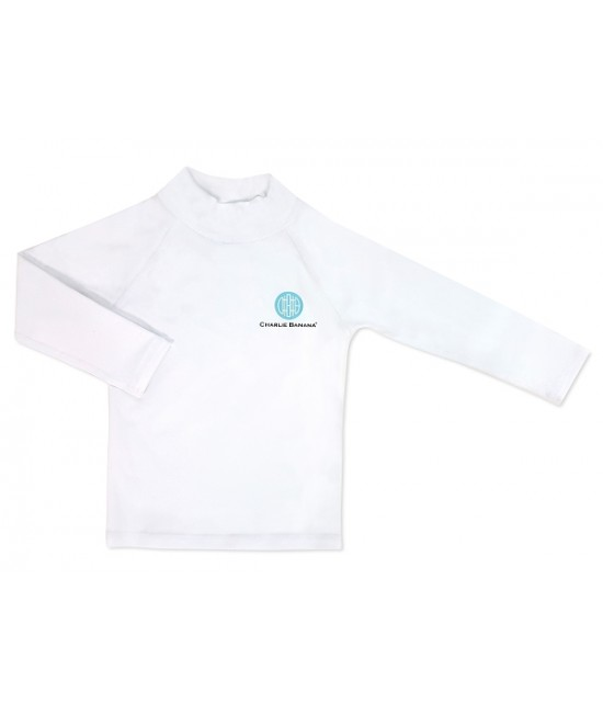 Bluză cu filtru UV pentru protecție solară UPF50+ Charlie Banana White - pentru bebeluși și copii