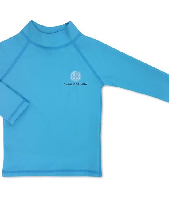 Bluză cu filtru UV pentru protecție solară UPF50+ Charlie Banana Turquoise - pentru bebeluși și copii