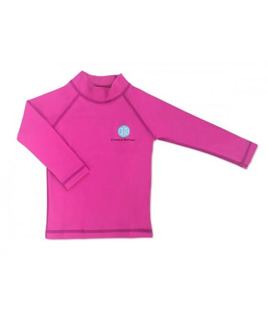 Bluză cu filtru UV pentru protecție solară UPF50+ Charlie Banana Hot Pink - pentru bebeluși și copii