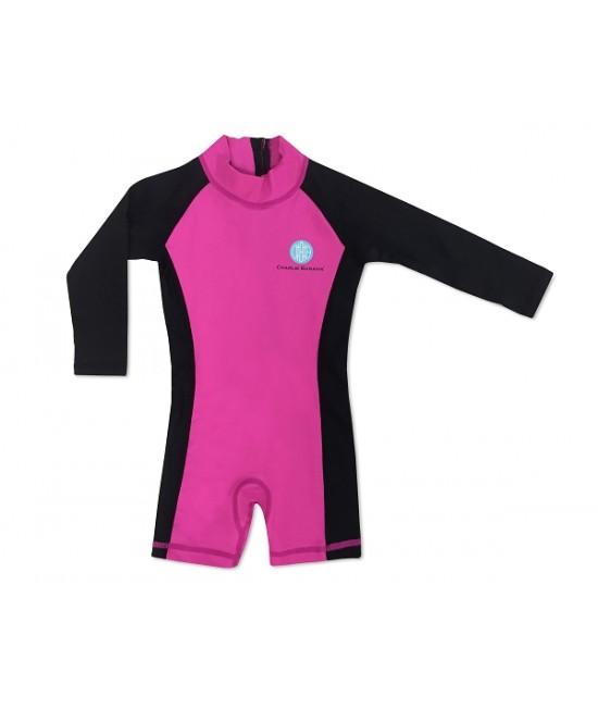 Salopetă cu filtru UV pentru protecție solară UPF50+ Charlie Banana Hot Pink - pentru bebeluși și copii