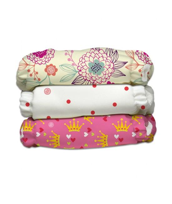 Set 3 scutece textile Charlie Banana Queen CB cu inserturi noi cu fleece (scutece hibrid, cu buzunar sau AI2)