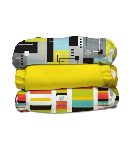 Set 3 scutece textile Charlie Banana Artist cu inserturi noi cu fleece (scutece hibrid, cu buzunar sau AI2)
