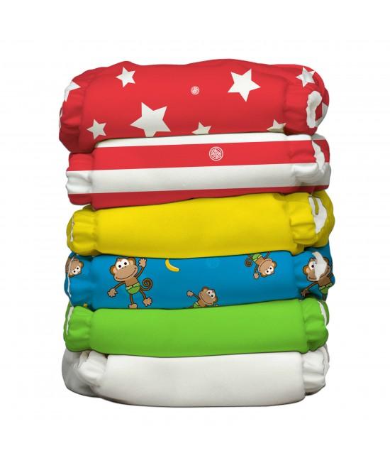 Set 6 scutece textile Charlie Banana Circus cu inserturi noi cu fleece (scutece hibrid, cu buzunar sau AI2)