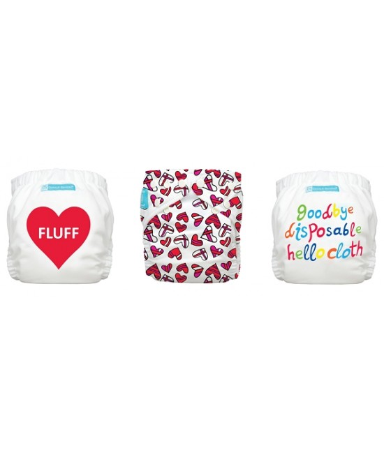Set economic 3 scutece textile refolosibile Charlie Banana - Fluffy Love