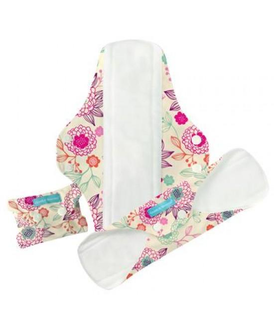 Set 3 absorbante intime feminine lavabile Charlie Banana Peony Blossom Super+ (pentru noapte)