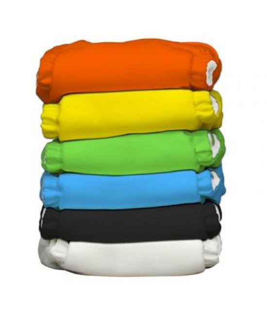 Set 6 scutece textile Charlie Banana Tango Mango cu inserturi noi cu fleece (scutece hibrid, cu buzunar sau AI2)
