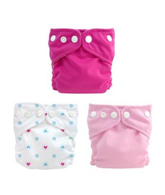 Set de 3 scutece textile Charlie Banana X-Small Girl pentru nou-născuți și prematuri
