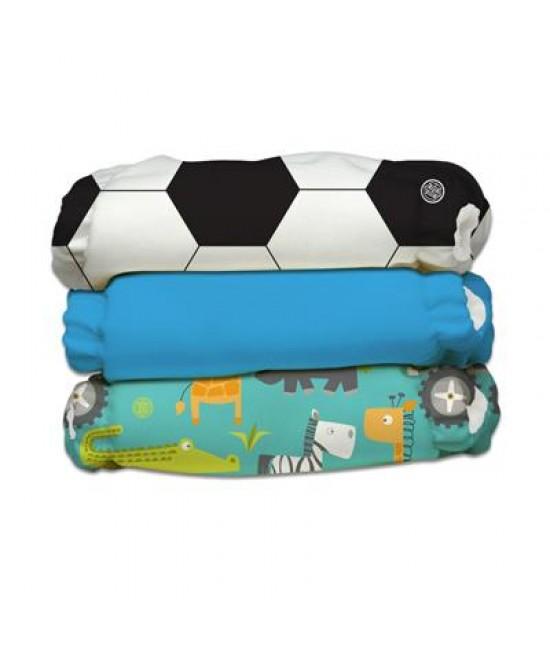 Set 3 scutece textile Charlie Banana Safari ORGANIC cu inserturi noi de cânepă cu fleece (scutece hibrid, cu buzunar sau AI2) - mărime unică