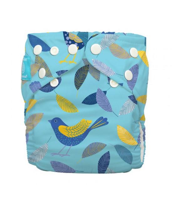 Scutec textil Charlie Banana Twitter Birds cu 2 inserturi noi cu fleece (scutec hibrid, cu buzunar sau AI2)
