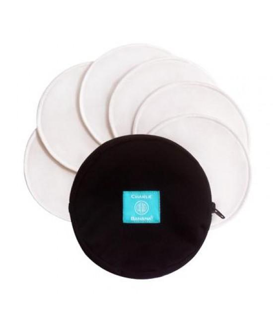 Set 6 absorbante lavabile refolosibile pentru alăptare Charlie Banana albe