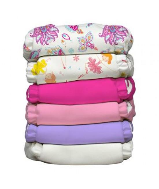 Set 6 scutece textile Charlie Banana Girly cu inserturi noi cu fleece (scutece hibrid, cu buzunar sau AI2)
